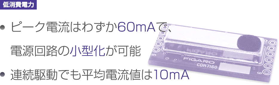 Peak current is only 60mA Enables downsizing of the external power supply circuit. Average current consumption during continuous operation is only 10mA.